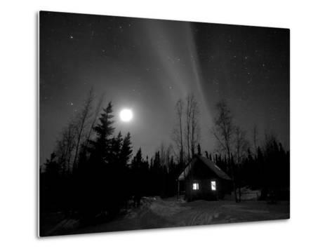 Cabin under Northern Lights and Full Moon, Northwest Territories, Canada March 2007-Eric Baccega-Metal Print