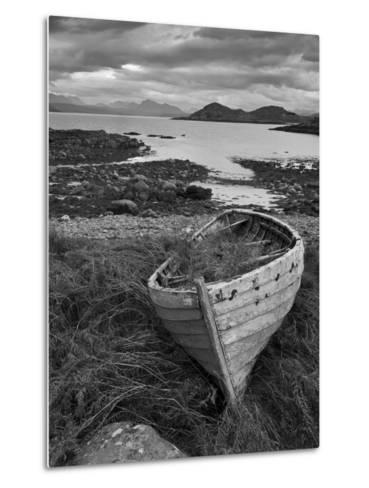 Sunset, Old Blue Fishing Boat, Inverasdale, Loch Ewe, Wester Ross, North West Scotland-Neale Clarke-Metal Print