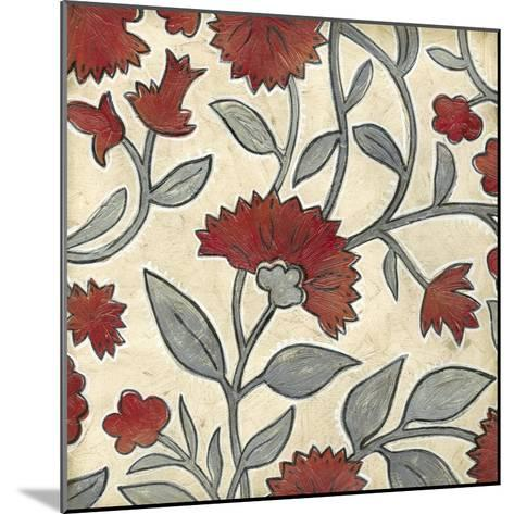 Red & Grey Floral I-Megan Meagher-Mounted Art Print