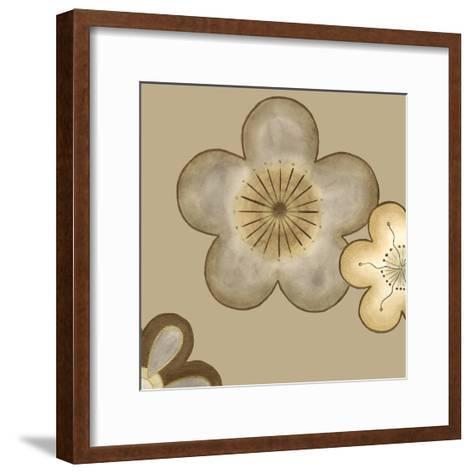 Pop Blossoms in Neutral II-Erica J^ Vess-Framed Art Print