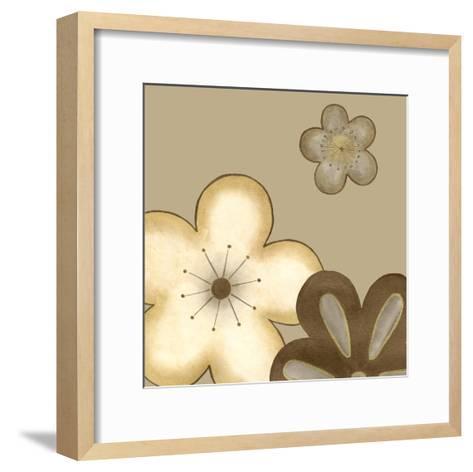 Pop Blossoms in Neutral I-Erica J^ Vess-Framed Art Print