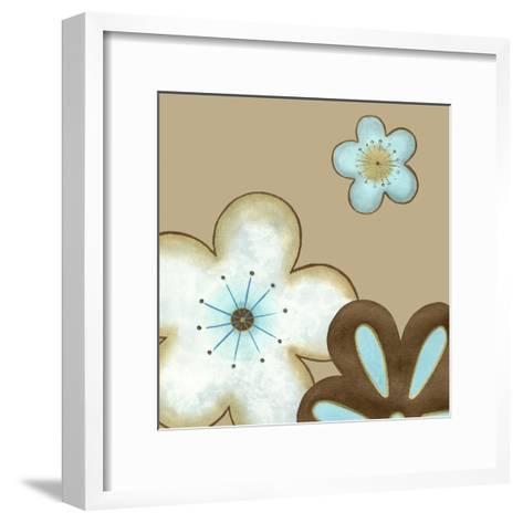 Pop Blossoms in Blue I-Erica J^ Vess-Framed Art Print