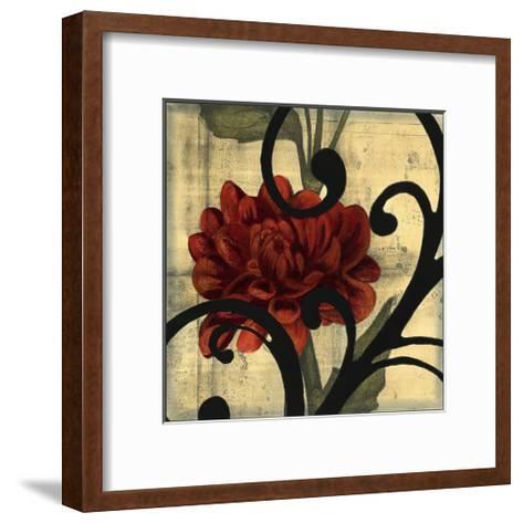 Dahlias and Scrolls I-Jennifer Goldberger-Framed Art Print
