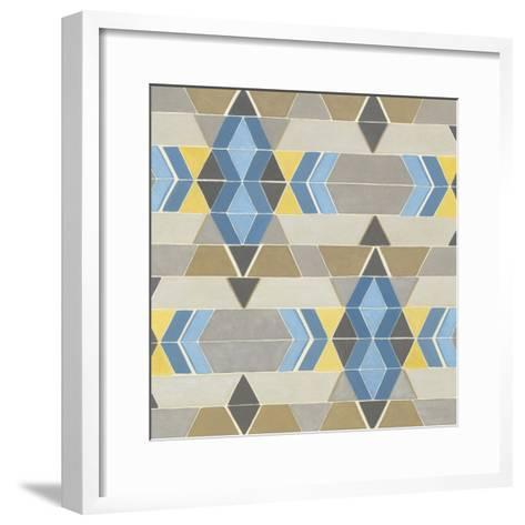 Blue and Yellow Geometry II-Megan Meagher-Framed Art Print