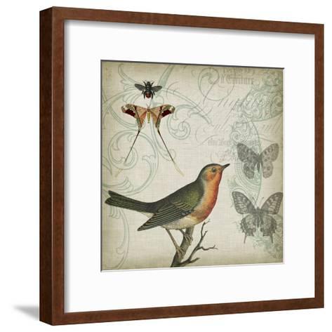 Cartouche & Wings I-Jennifer Goldberger-Framed Art Print