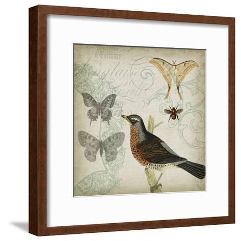 Cartouche & Wings II-Jennifer Goldberger-Framed Art Print