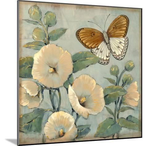 Butterfly and Hollyhocks I-Tim O'toole-Mounted Art Print