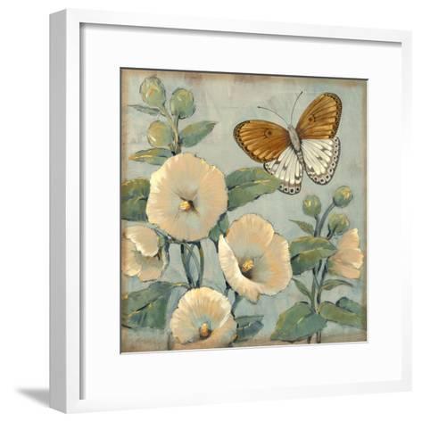 Butterfly and Hollyhocks I-Tim O'toole-Framed Art Print