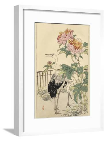 Crane and Peony-Bairei-Framed Art Print