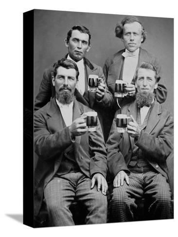Four Guys and their Mugs of Beer, Ca. 1880--Stretched Canvas Print