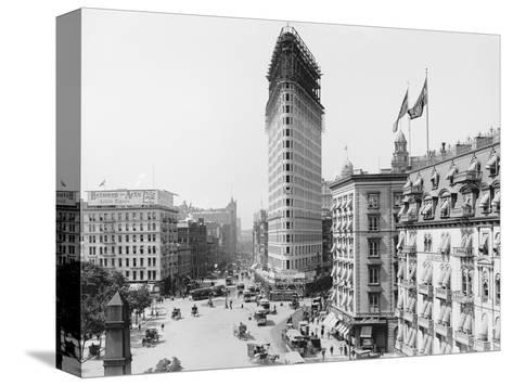 Flatiron Building under Construction--Stretched Canvas Print