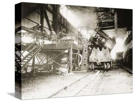 Pouring Ladle at River Rouge--Stretched Canvas Print