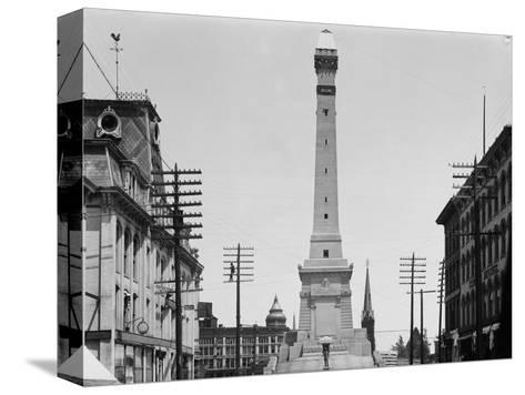 Soldiers and Sailors Monument during Construction in Indianapolis--Stretched Canvas Print