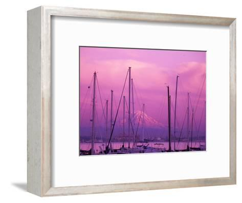 Elliot Bay Marina with Mount Rainier at Sunset, Seattle, Washington, USA-Jamie & Judy Wild-Framed Art Print