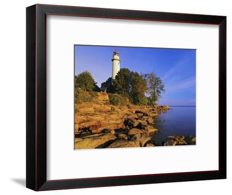 Pointe Aux Barques Lighthouse at Sunrise on Lake Huron, Michigan, USA-Adam Jones-Framed Art Print