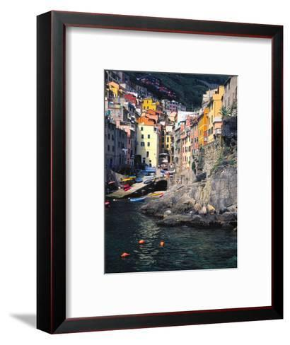 Harbor View of Hillside Town of Riomaggiore, Cinque Terre, Italy-Julie Eggers-Framed Art Print