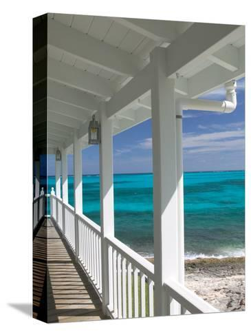 Porch View of the Atlantic Ocean, Loyalist Cays, Abacos, Bahamas-Walter Bibikow-Stretched Canvas Print
