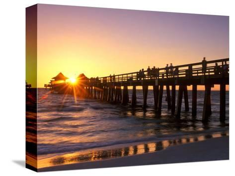 Naples Pier Sunset, Naples, Florida, USA-Rob Tilley-Stretched Canvas Print