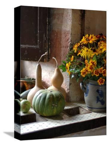 Gourds and Flowers in Kitchen in Chateau de Cormatin, Burgundy, France-Lisa S^ Engelbrecht-Stretched Canvas Print