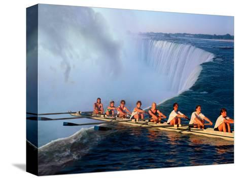 Rowers Hang Over the Edge at Niagra Falls, US-Canada Border-Janis Miglavs-Stretched Canvas Print