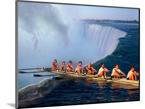 Rowers Hang Over the Edge at Niagra Falls, US-Canada Border-Janis Miglavs-Mounted Photographic Print