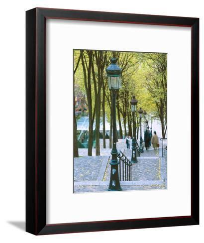 Autumn, Rue De Foyatier Steps to the Place Du Sacre Coeur, Montmartre, Paris, France-Walter Bibikow-Framed Art Print