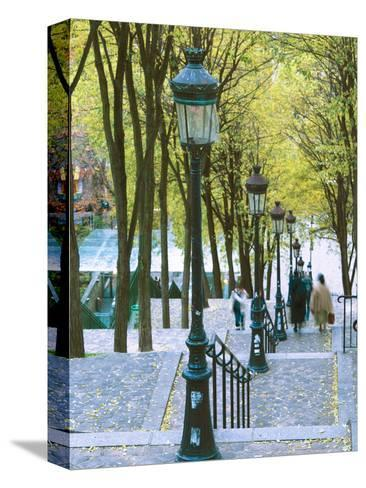 Autumn, Rue De Foyatier Steps to the Place Du Sacre Coeur, Montmartre, Paris, France-Walter Bibikow-Stretched Canvas Print