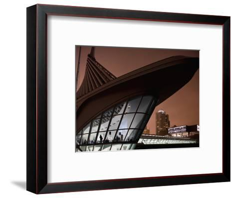 Museum of Art Building and City Skyline in Fog on Spring Evening, Milwaukee, Wisconsin, Usa-Paul Souders-Framed Art Print