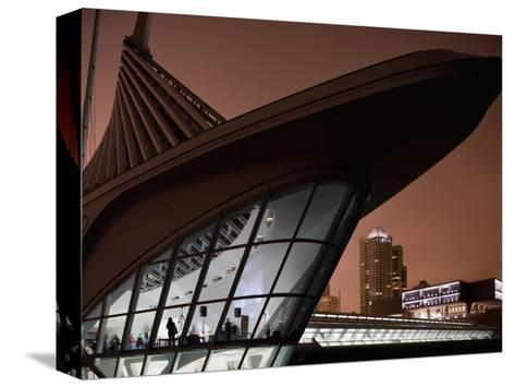 Museum of Art Building and City Skyline in Fog on Spring Evening, Milwaukee, Wisconsin, Usa-Paul Souders-Stretched Canvas Print