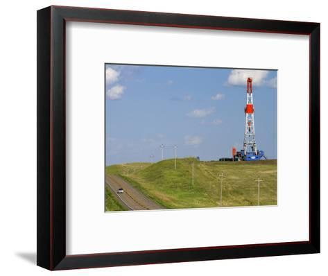 Patterson Uti Oil Drilling Rig Along Highway 200 West of Killdeer, North Dakota, USA-David R^ Frazier-Framed Art Print