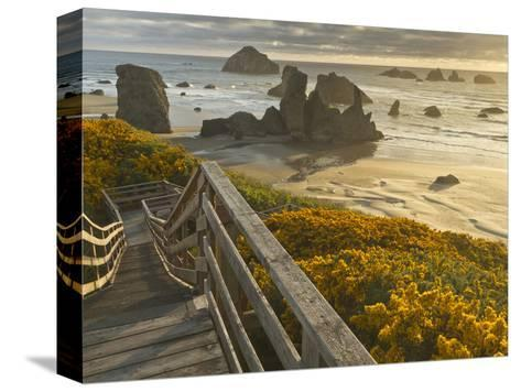 A Stairway Leads to the Beach in Bandon, Oregon, USA-William Sutton-Stretched Canvas Print
