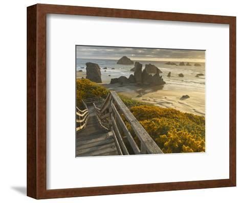 A Stairway Leads to the Beach in Bandon, Oregon, USA-William Sutton-Framed Art Print