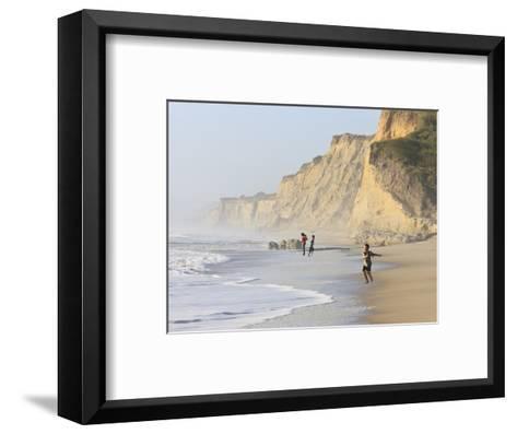 Kids Playing on Beach, Santa Cruz Coast, California, USA-Tom Norring-Framed Art Print