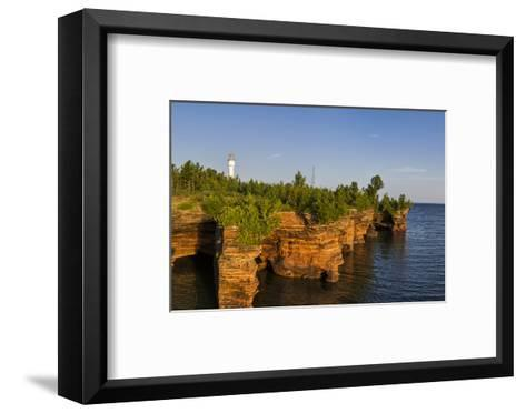 Sandstone Cliffs, Sea Caves, Devils Island, Apostle Islands Lakeshore, Wisconsin, USA-Chuck Haney-Framed Art Print