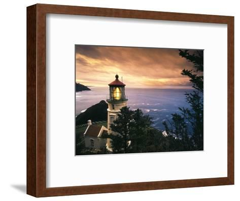 View of Heceta Head Lighthouse at Sunset, Oregon, USA-Stuart Westmorland-Framed Art Print