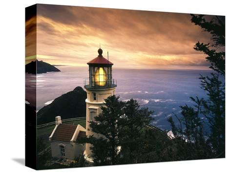 View of Heceta Head Lighthouse at Sunset, Oregon, USA-Stuart Westmorland-Stretched Canvas Print