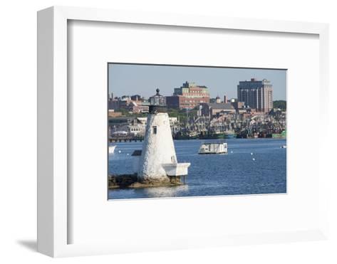 Fishing Boats, Palmer Island Lighthouse, New Bedford Harbor, Massachusetts, USA-Cindy Miller Hopkins-Framed Art Print