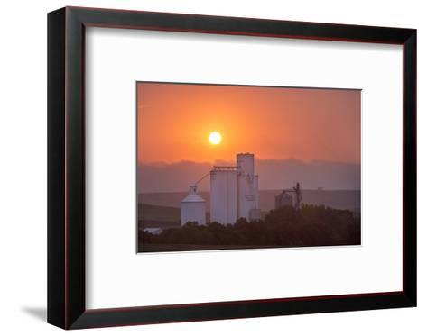 Foggy Sunrise over Grain Elevator, Farm, Kathryn, North Dakota, USA-Chuck Haney-Framed Art Print