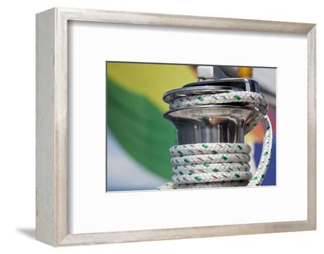 Sailboat Winch with Coiled Rope, San Juan Islands, Washington, USA-Jaynes Gallery-Framed Art Print