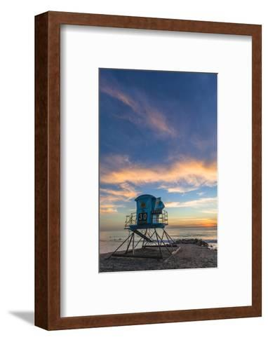 Lifeguard Stand at Sunset in Carlsbad, Ca-Andrew Shoemaker-Framed Art Print