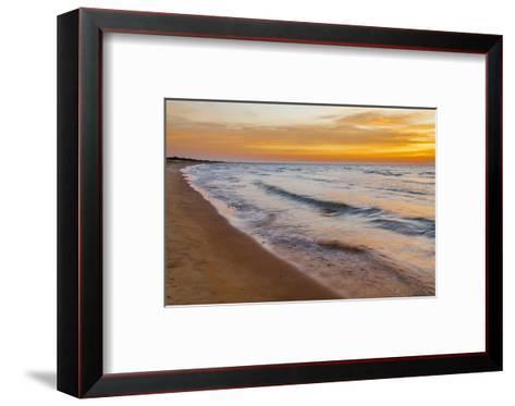 USA, Michigan, Paradise, Whitefish Bay Beach with Waves at Sunrise-Frank Zurey-Framed Art Print