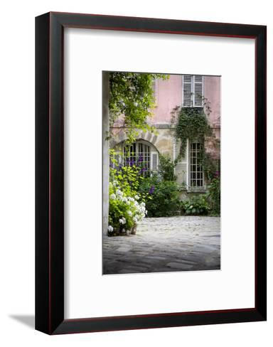 Flowery Building Courtyard in Saint Germaine Des Pres, Paris, France-Brian Jannsen-Framed Art Print