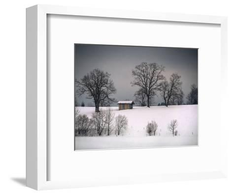 Winter Scene, Hill and Trees, Hut and Foreboding Sky-Sheila Haddad-Framed Art Print