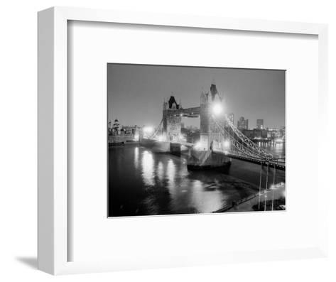 A View of Tower Bridge on the River Thames Illuminated at Night in London, April 1987--Framed Art Print