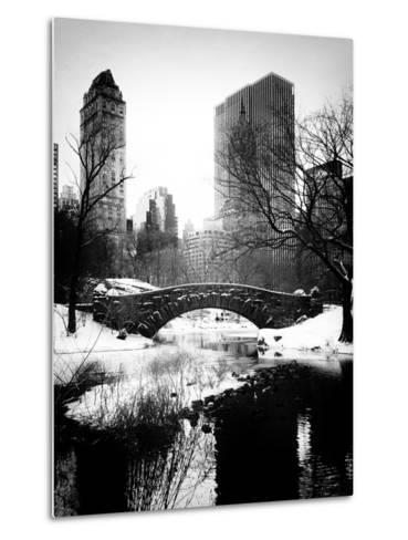Snowy Gapstow Bridge of Central Park, Manhattan in New York City-Philippe Hugonnard-Metal Print