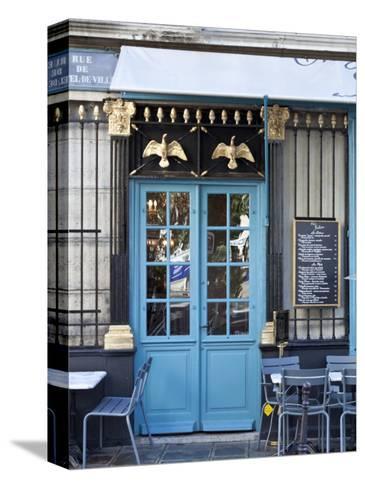 Blue Doors of Cafe, Marais District, Paris, France-Jon Arnold-Stretched Canvas Print