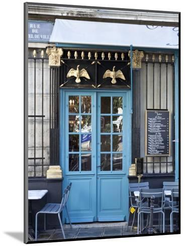 Blue Doors of Cafe, Marais District, Paris, France-Jon Arnold-Mounted Photographic Print