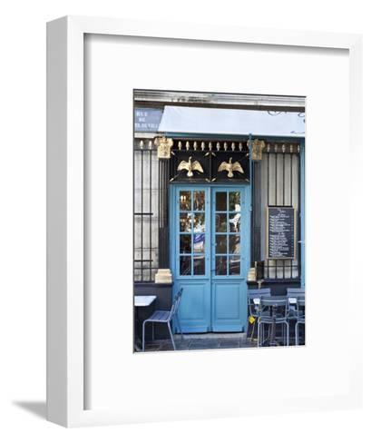 Blue Doors of Cafe, Marais District, Paris, France-Jon Arnold-Framed Art Print