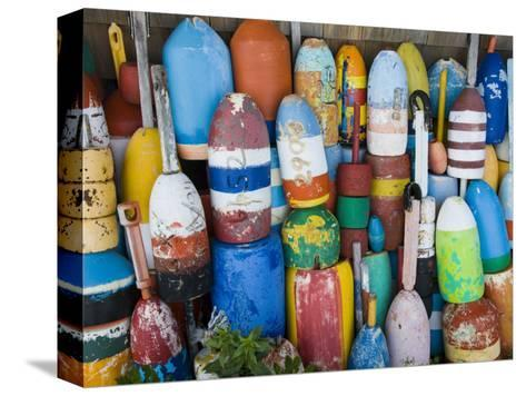 Lobster Buoys, Rockport Harbour, Rockport, Cape Ann, Massachusetts, USA-Walter Bibikow-Stretched Canvas Print