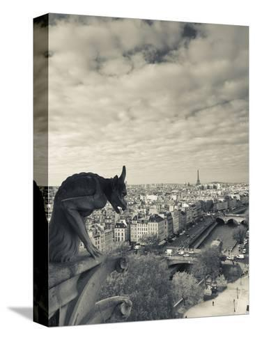 France, Paris, View from the Cathedrale Notre Dame Cathedral with Gargoyles-Walter Bibikow-Stretched Canvas Print